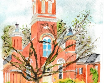 First Presbyterian Church, Oxford, MS, watercolor painting, 1st Presbyterian Church, Oxford Churches, original watercolor, watercolor church