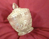 Vintage Anchor Hocking Diamond Cut EACG Glass Sugar Bowl With Lid Replacement