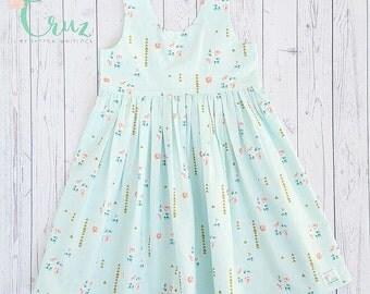 Scoop back dress for girls-spring-summer-blue floral- Easter dress