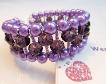 Purple Glass Beaded Bangle Bracelet, Memory Wire Bangle, Pearl Bracelet, Crystal Bracelet