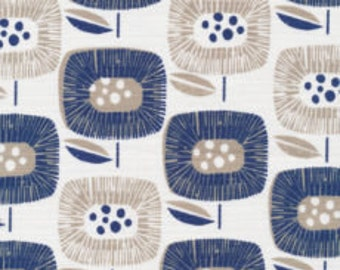 Block Blooms Navy by Skinny La Minx - ORGANIC CANVAS fabric by the Half-Yard or Full Yard - Cloud 9 Fabrics - Around the Block Collection