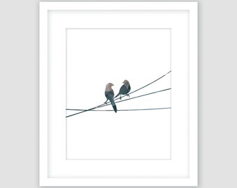 Blue and Brown Geometric Birds on a Wire Print, Animal Wall Art, Modern Art, Instant Download, DIY, Printable