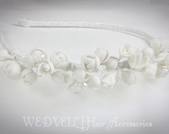 Flower Headband for Wedding, with Crystals