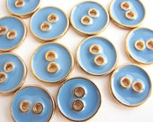 "12 small metal buttons in blue colour, 15 mm - 9/16"" across, unused sewing buttons"