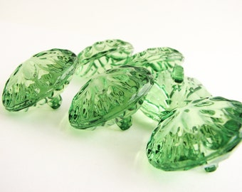 6 green crystal buttons, clear plastic buttons in green, Large and small shank buttons
