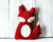 Red Fox Stuffed Animal Pillow - Children's Plushie with Hidden Zipper Pouch