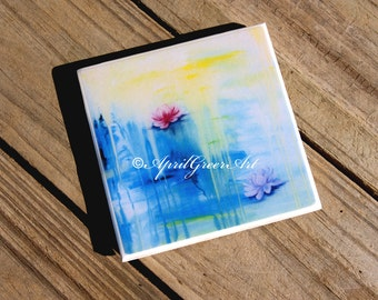 Water lily ceramic tile art coasters handmade by artist - April Greer, original art print ceamic tile coasters with gloss resin finish