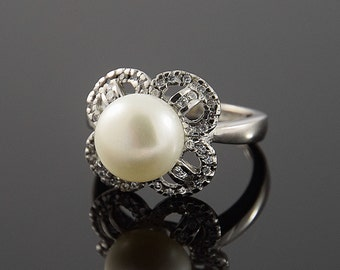 Pearl ring, Silver pearl ring, Promise ring, Silver promise ring, White pearl ring, Flower ring, Elegant ring, Dainty ring, Cute ring