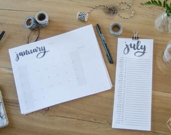 2017 Hand Lettered Calendar
