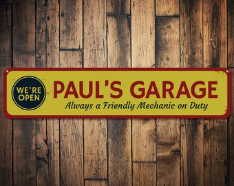 Garage We're Open Sign, Personalized Friendly Mechanic Name Sign, Custom Garage Decor, Metal Man Cave Sign - Quality Aluminum ENS1001535