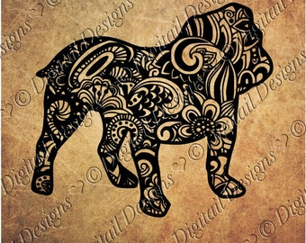 Zentangle Bulldog SVG, dxf, fcm, eps, ai, png cut file for Silhouette, Cricut, Scan N Cut. Doodle Bulldog SVG Bulldog cut file