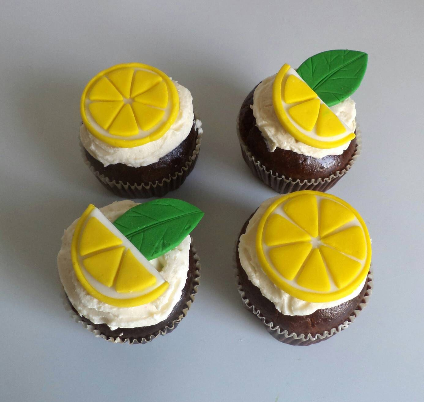 Fondant Lemon Slices and Leaves for Cupcake and Cake Toppers