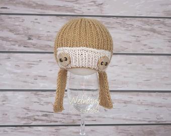 Knit newborn pilot ,hat pilot,knit photo props, pilot ,newborn pilot,