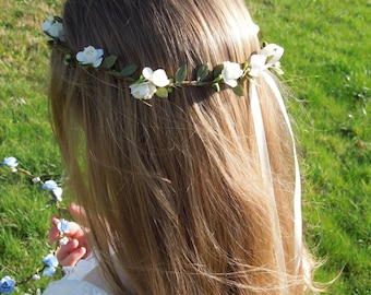 Flower Crown, Rose Flower Crown, Ivory Flower Crown, Hair Wreath, Flower Halo, Hair Crown, Flower Girl Crown, Wedding Accessory