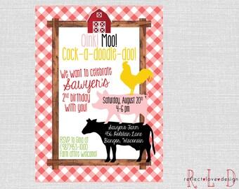 Barnyard Farm Animal Birthday Invitation Digital Printable
