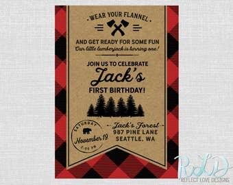 Lumberjack Birthday Party Digital Printable Invitation