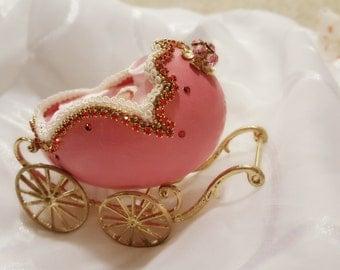 decorated Baby stroller goose egg.pink