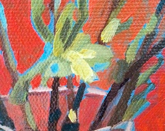 """Original painting """"They say spring has come"""" art"""