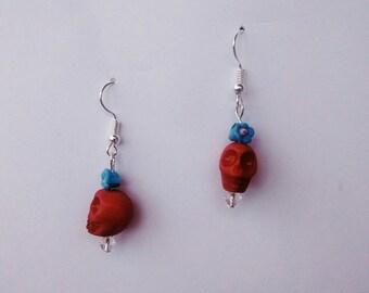 Skull Dangle Earrings with Flower
