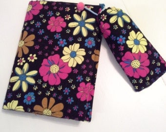 Book, notebook cover and pencil case with colorful flowers