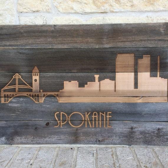 reclaimed rustic spokane washington city skyline pick your