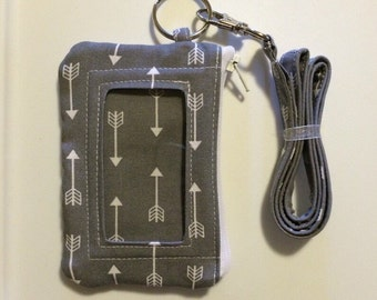 Hand Made Lanyard With ID Wallet in Gray Arrow Print With Extra Zipper