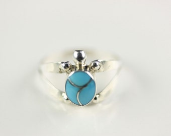 Native American Zuni Inlay .925 Sterling Silver Turquoise Ring Size 6