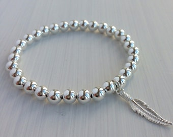 6mm Sterling Silver Bead Bracelet with 925 feather charm