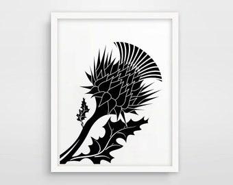 Thistle Print / Thistle Artwork / Scottish Print / Scottish Art / Flower of Scotland / Black And White Thorn / Instant Download / Printable