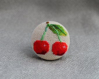 Cherry ring Cross stitch red ring Embroidered jewelry Unique cherry Handmade ring Red cherry Gift for her Cherry jewelry Berry ring