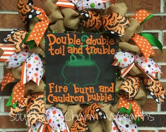 """18"""" Natural Burlap """"Double double toil and trouble"""" Hocus Pocus LED Lighted Wreath"""