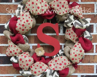 Red Chevron Burlap Initial Wreath