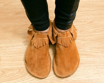 Leather Adult Moccasin - Classic Fringe - Color: Moab Suede, For Her, For Mom