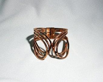 Vintage Renoir Copper Abstract Hinged Rhythm Cuff Bracelet Jerry Fels circa 1950's / Matisse Ltd.