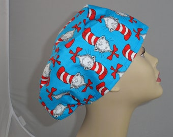 Surgical_scrub hat_ cat in the hat_blue_Vashon style, ladies_cotton