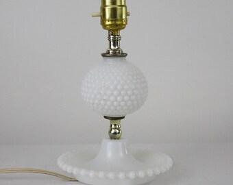 Vintage Hobnail Milk Glass Table Lamp - White Hobnail Lamp -  40s Milk Glass Table Lamp