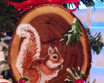 Squirrel Hand painted Christmas ornament hand painted on mesquite wood