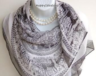 Black & White Deer Print Long Scarf. Autumn Scarves.Wrap/Shawl. Soft Scarf.Summer Scarves.Fall / Winter Scarf.Oversized Scarf/Shawl.