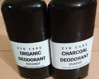 Two deodorants-one full price second half price-coconut deodorant-charcoal deodorant-organic deodorant-natural deodorant-homemade deodorant