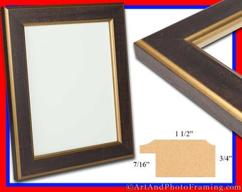 "Dark Brown with Gold Picture Frame 1.5"" Wide, Photo Frame - Eco Friendly - 4x6 5x7 8x10 8.5x11 12x12 11x14 12x12 13x19 16x20 Custom Sizes"