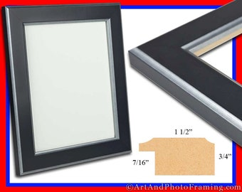 "Large Black with Silver Photo Frame 1.25"" Wide, Picture Frame Flat - Eco Friendly 18 x 24, 20 x 24, 20 x 30, 22 x 28, 24 x 36 Custom Sizes"
