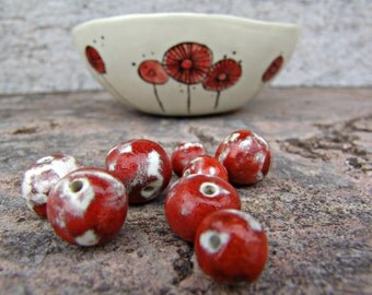 Ceramic beads in handmade, ceramic beads, red