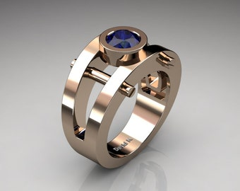 Mens Modern 14K Rose Gold 1.0 Ct Blue Sapphire Ring R1049-14KRGBS