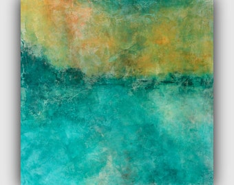24x24 - Original Abstract Landscape Painting - Acrylic on Wood Board - Turquoise Teal Orange Yellow - Texture