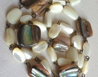 Vintage Mother of Pearl and Abalone Beaded Necklace, Long Beaded Necklace, Shell Necklace
