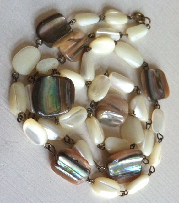 Vintage Mother Of Pearl And Abalone Beaded Necklace Long