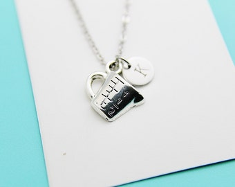 Baking Necklace, Silver Measuring Cup Pendant Necklace, Personalized Jewelry, Christmas Necklace, Christmas Jewelry, Holiday Jewelry