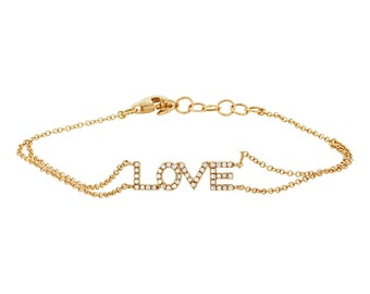 "Unique Love Charm Bracelet, 0.12ct 14k Yellow Gold Diamond ""Love"" Bracelet"