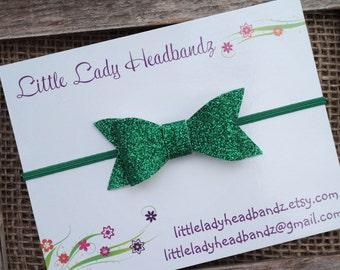Green glitter bow headband skinny headband or clip baby headband infant toddler headband
