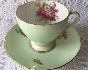 Very Pretty Mint Green Foley Teacup Set, Beautiful Pink Floral Bouquet.